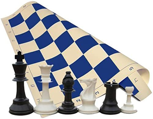 calidad fantástica Tornament Chess Set - - - Chess Pieces (34 Pieces negro and blanco with 2 Extra Queens) - azul Chess Board (20 x 20 Vinyl Rollup) by ChessCentral  sorteos de estadio