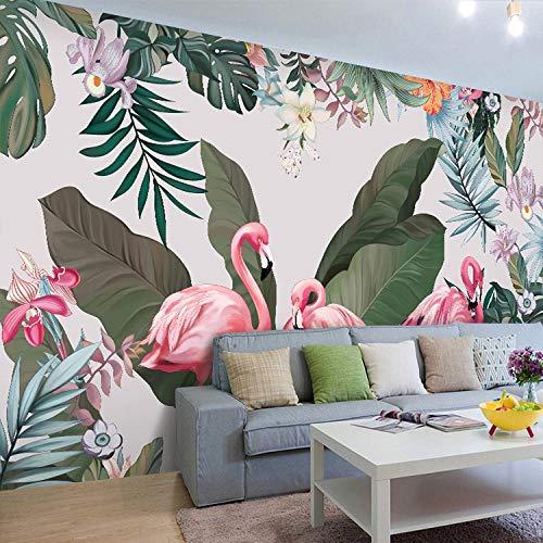 Südostasien tropischen Regenwald Bananenblatt handbemalte Flamingo Tapete ins Netz rot Shop Live-TV Hintergrund fototapete 3d Tapete effekt Vlies wandbild Schlafzimmer-250cm×170cm