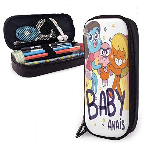 Estuche para lápices de cuero Pu para bebé Anais con cierre de cremallera Estuche de transporte de gran capacidad para la oficina de la escuela