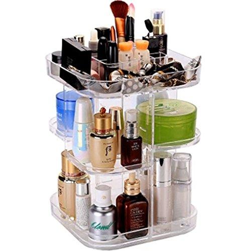 Coffrets de maquillage Boîte de Rangement cosmétique Transparent Acrylique Rack De Stockage Rotatif Plateau Dressing Table Organisateur 22 * 22 * 32 cm (8.6 * 8.6 * 12.5 Pouces)