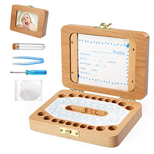 BelleStyle bebé dientes caja, Caja para guardar dientes para niños y niñas caja de Regalo para niños en madera de souvenir