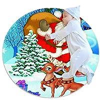 ソフトラウンドエリアラグ 80x80cm/31.5x31.5IN 滑り止めフロアサークルマット吸収性メモリースポンジスタンディングマット,クリスマスツリーサンタクロースの森の鹿