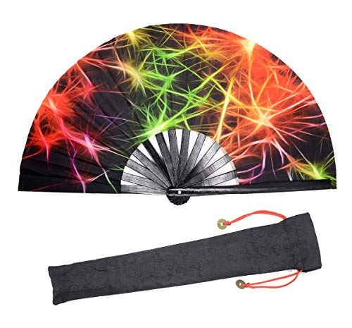 Leehome Large Rave Folding Hand Fan for Women/Men,Chinese/Japanese with Bamboo and Nylon-Cloth Handheld Fan,for Performance,Decorations, Dance,Festival Party,Gift (Laser Light)
