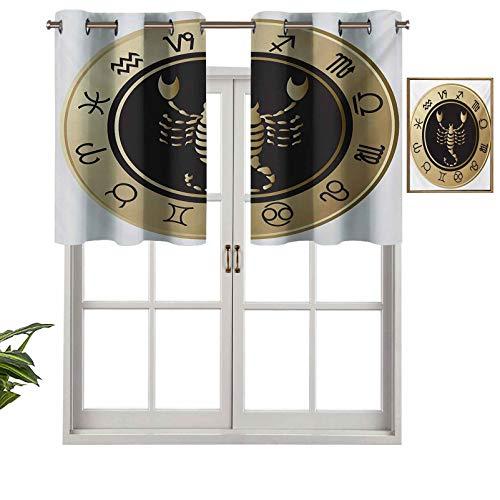 Hiiiman Cenefas de cortina opacas con aislamiento térmico y ojales cortos, 12 letreros en un círculo con escorpión en el futuro de la astrología media, juego de 1, 106,7 x 45,7 cm para cocina y baño