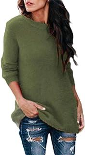 Macondoo Womens Long Sleeve Crewneck Fall/Winter Knit Jumper Pullover Sweaters