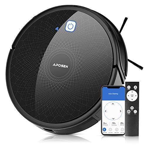 APOSEN Vacuum Robot, Wi-Fi Connectivity, Robotic Vacuum Cleaner Works with Alexa, Ideal for Pet Hair, Hardwood Floors, Thick Carpet, Self-Charging Automatic Cleaning Robot, A550 Dining Features Kitchen Robotic Vacuums