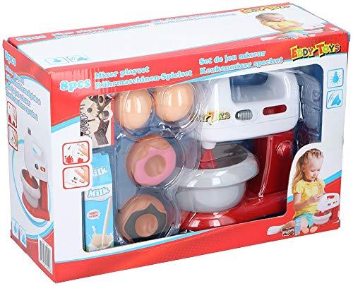 Eddy Toys 8tlg. Spielzeugset elektrischer Mixer mit Licht und Ton , Milch, Eier, Kuchen, Schokolade, Küchengerät, Haushaltsgerät, Kindermixer