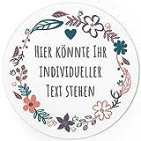 24 PERSONALISIERTE runde Etiketten mit Motiv: Blumenkranz mit Herz - Ihre Aufkleber online selbst gestaltet, ganz individuell für Hochzeit, Geburtstag, Taufe, Kommunion, Konfirmation, Kosmetik