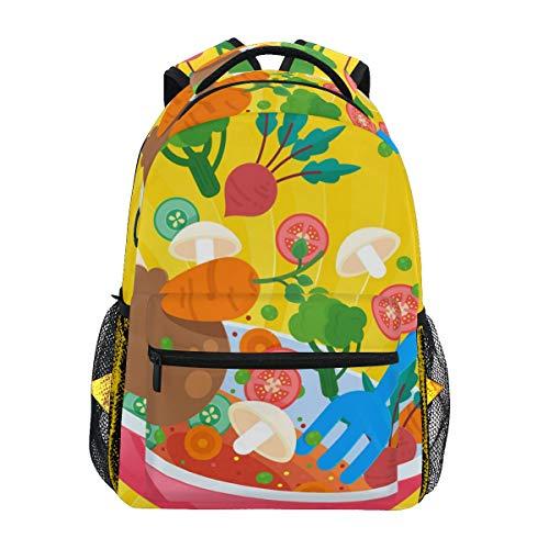 Lustiger Cartoon Vegrtables Kochtopf Gasherd Schultasche Rucksack Rucksack mit großer Kapazität Segeltuch Casual Reise Daypack für Kinder Erwachsene Teenager Damen Herren