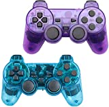 Wireless Controller for PS2 Playstation 2 Dual Shock (Pack of 2,ClearBlue and ClearPurple)