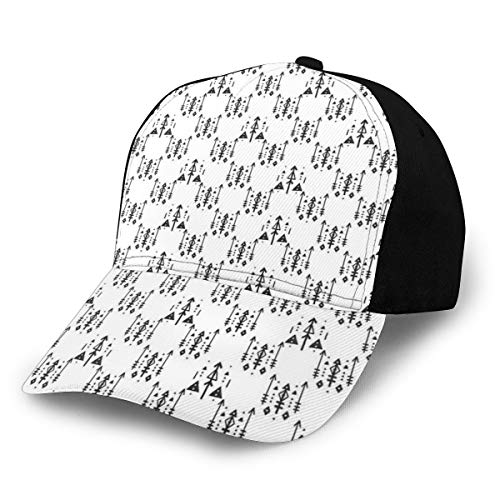 Hip Hop Sun Hat Baseball Cap,Arrow with Feathers Print Ethnic Abstract Aztec Boho Monochrome Pattern Design,for Men&Women