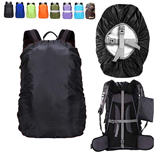 ZM-SPORTS 15-90L Upgraded Waterproof Backpack Rain Cover,with Vertical Adjustable Fixed Strap Avoid to Falling,Gift with Portable Storage Pack (Black, M(for 30-40L Backpack)