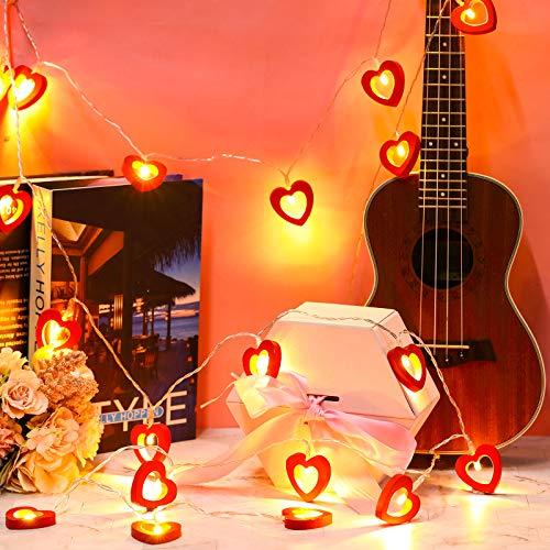 Luces de Hadas de 20 LED Luces de Corazón de Madera de San Valentín Luz Colgante de Amor de Madera Lámpara de Cuerda Luces Decorativas Funcionadas por Pilas para Cumpleaños Boda (Rojo)
