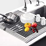Dish Drying Rack 17.6' x 16', G-TING Over Sink Roll Up Large Dish Drainers Rack, Multipurpose Foldable Kitchen Sink Rack Mat Stainless Steel with Silicone Rims for Dishes, Cups, Fruits Vegetables