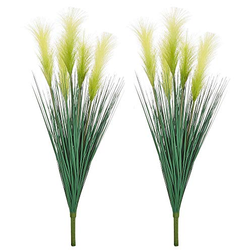 """LUEUR Artificial Greenery Plants Reed Flowers, 35.4"""" Faux Reed Grass Fake Shrubs Outdoor Plant Dried Pampas Flowers Bouquet Wheat Grass for Floor Decorative Home Garden Wedding Decor 2 Bunches"""