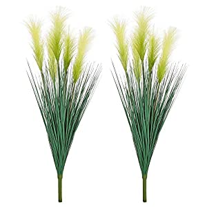 LUEUR Artificial Greenery Plants Reed Flowers, 35.4″ Faux Reed Grass Fake Shrubs Outdoor Plant Dried Pampas Flowers Bouquet Wheat Grass for Floor Decorative Home Garden Wedding Decor 2 Bunches