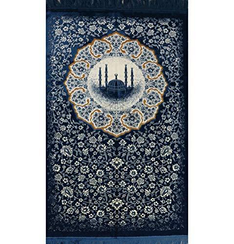 Modefa Islamischer türkischer Samt-Gebetsteppich für Erwachsene, Janamaz Namaz Seccade Gebetsteppich, Teppich, florale Moschee (blau)