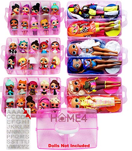 HOME4 No BPA 60 Adjustable Compartments 6 Layers Stackable Storage Container Organizer Carrying Display Case, Compatible with Surprise Small Toys LOL, Shopkins, OMG Barbie (Dolls Not Included) (Pink)
