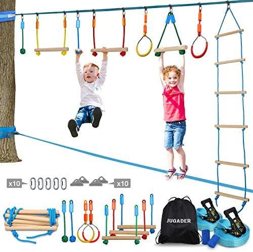 Jugader Ninja Warrior Obstacle Course for Kids 50FT Ninja Slackline with Ladder Monkey Bars product image
