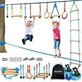 Jugader Ninja Warrior Obstacle Course for Kids 50FT Ninja Slackline with Ladder, Monkey Bars, Gym Rings, Rope Knots (Ninja Slackline + Slack Line)
