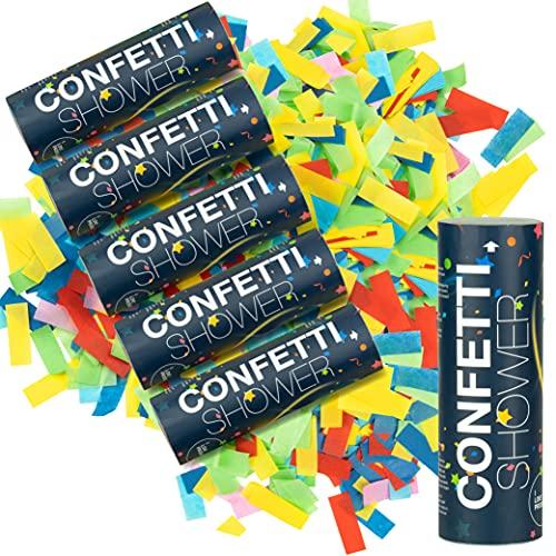 ILP Canon Confettis sans Bang - 6 x Lanceur de Confettis - Fête Colorée avec le Canon a Confettis - Party Popper comme Décoration de Fête pour les Anniversaires, le Réveillon et les Mariages