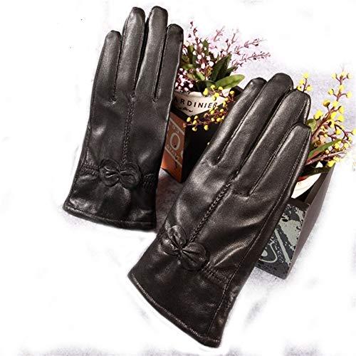 LUOSI High-End-Handschuhe Plus-Kaschmir-Winter-Handschuh-Frauen Warm Lederhandschuhe (Color : Black, Size : One Size)