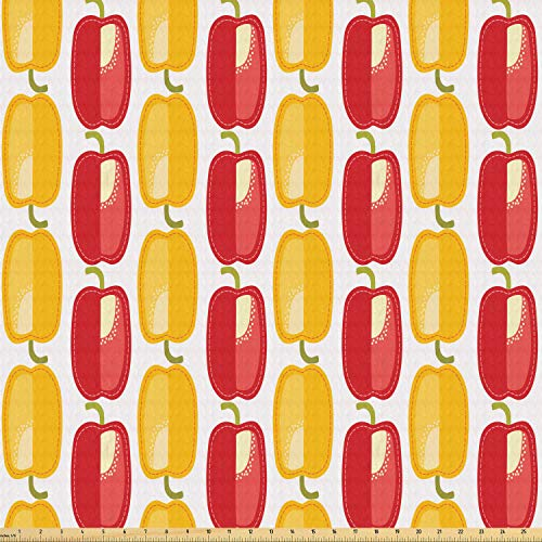 ABAKUHAUS Peper Stof per strekkende meter, Bulgaarse Vegetable Pattern, Stretch Gebreide Stof voor Kleding Naaien en Kunstnijverheid, 1 m, Geel Groen Vermilion