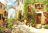 wandmotiv24 Fototapete Strasse italienische Stadt Italien Gasse, XL 350 x 245 cm - 7 Teile, Fototapeten, Wandbild, Motivtapeten, Vlies-Tapeten, Blumen Blüten Blumentopf Häuser Steinweg M1084