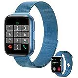 Reloj inteligente, deportivo con pantalla táctil completa HD de 1.55 pulgadas Smartwatch, rastreador de ejercicios con función de contestador telefónico, IP68 a prueba de agua Hombre Mujer para (Azul)