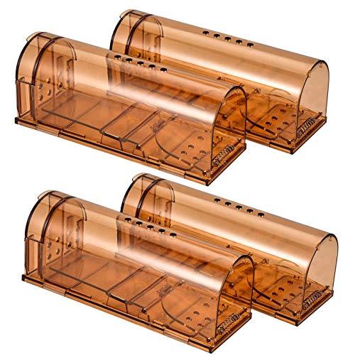 Trampa para Ratones 4 Pcs Ratonera Ratas Vivos Trampa para Ratas Ratonera de Plástico Reutilizable con Diseño de Cola Anti-Roto y Agujeros de Aire para Cocina Jardín Hogar Cocina Ático Garaje