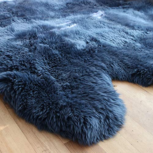 Navy Blue Sheepskin Rug | Genuine | Extra Thick and Soft Wool | by Rughouse (Octo:...