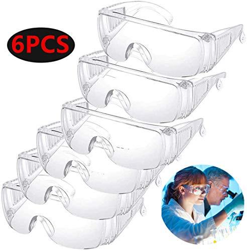 Schutzbrille für die Augen, kristallklar, Anti-Viren, staubdicht, winddicht, atmungsaktiv, leicht, medizinischer Chirurgenschutz, 6 Stück