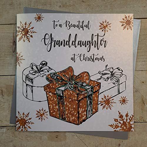 """White Cotton Cards XF4-GD - Tarjeta de felicitación navideña (hecha a mano), diseño con texto""""Beautiful Granddaughter at Christmas"""""""