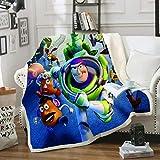 HGKY Toy Story Superweiche Decke, Cartoon-Mikrofaser-Nickerchen, Gabel, holzig, Buzz Lightyear-Design, Kinderdecke, Schlafzimmer, Arbeitszimmer, kann verwendet werden (M,150 x 200 cm)