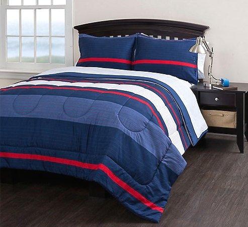 Check Price Boys Striped Full Comforter Set (7 Piece Bedding Set