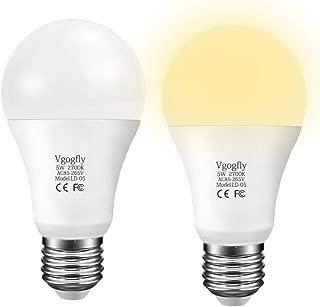 Dusk to Dawn Light Bulb LED Outdoor Light Bulbs Sensing Lighting Sensor Socket Photoelectric Switch for Lights Porch 5W (E26, 450lumen, Warm White, 2-Pack)