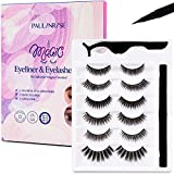 Paulinrise Magnetic Eyeliner and Eyelashes Kit, No Glue Reusable Silk 3D Faux Lashes set 6 Pairs Natural Look easy remover Eyelashes