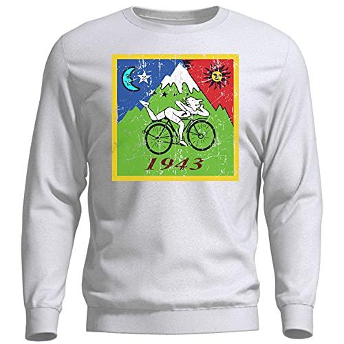 ROSETRAIL Albert Hofmann Bicycle Day 1943 LSD Acid Trip Weißer Unisex Pullover Sweatshirt Size S