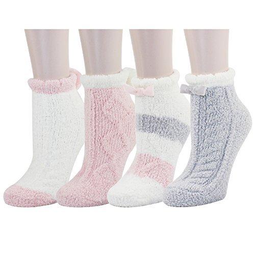 Zmart Fuzzy Anti-Slip Socks for Women Girls Non Slip Fluffy Slipper Socks with Grippers