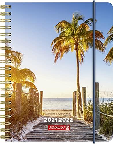 "BRUNNEN 1071855182 Schülerkalender 2021/2022 (18 Monate) ""Palm Beach"" 2 Seiten = 1 Woche, Blattgröße 12 x 16 cm, A6, PP-Einband"