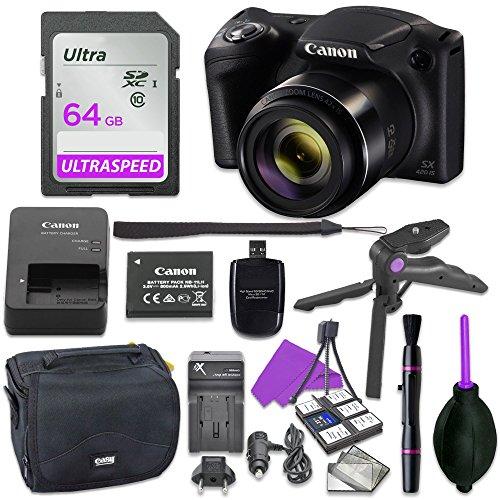 Canon Powershot SX420 Point & Shoot Digital Camera Bundle w/Tripod Hand Grip, 64GB SD Memory, Case and More (Black)