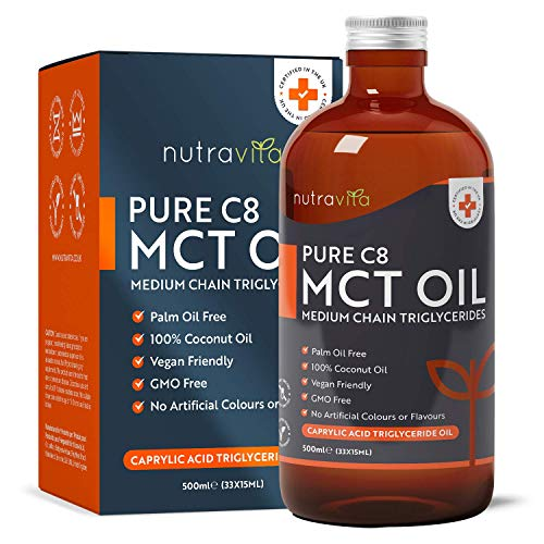 Premium and Pure MCT Oil C8 500ml – 99.8% Caprylic Acid (C8) from 100% Coconut Oil - Easily Absorbed and Digested – Vegan Friendly - Ideal for Paleo, Keto and Low Carb Diets - Made in UK by Nutravita