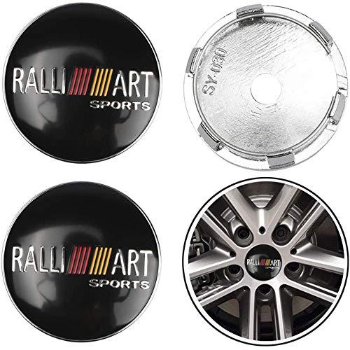 4 piezas rueda del coche Llanta centro Hub Cap Badge Trim Sticker aluminio Tapas centrales para Mitsubishi Lancer 9 ASX Outlander 3 Pajero, Emblemas cubierta ajuste automático del vehículo, 60MM