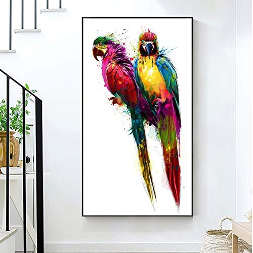 wZUN Colorful Bird Parrot Picture Canvas Painting Mural Living Room Animal Posters and Prints Home Decor 60x105 Frameless