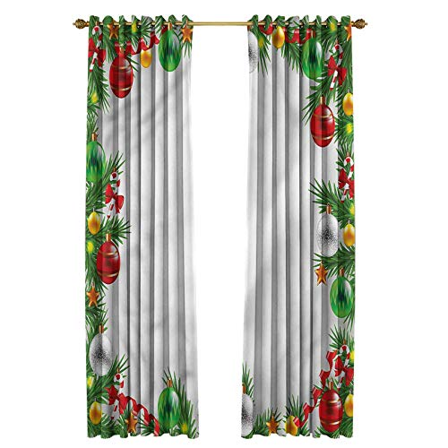 Christmas Keep Warm Draperies Thermal Insulated Room Curtains Snowy Winter Garland 70' W x 84' L