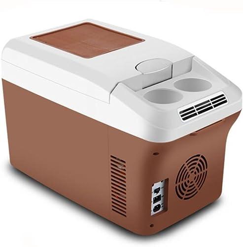 KEMNI Réfrigérateur De Voiture Auto Réfrigérateur 15L DC12V 24V Refroidisseur Boîte Chauffante Portable Sangle Multi-Fonction Maison Voyage Plage marron, marron, 15L