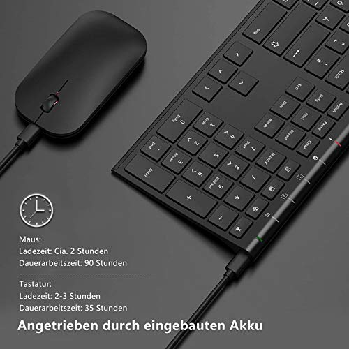 Jelly Comb Kabellose Tastatur und Maus Set, 2.4G Wireless Ultra dünn Tastatur und Flache Maus, Wiederaufladbare Funktastatur mit Deutschem Layout für PC, Laptop, Smart TV, Schwarz
