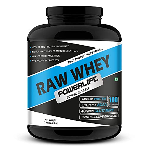 PowerLift Raw Whey [3Kg/6.6Lbs] 24G Protein, 5.1G BCAA   Raw Whey From USA   With Digestive enzymes  High in Protein & BCAA(100 servings)