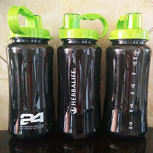 ABRC 1L / 2L / 2000ml Gran tamaño Negro 24 Horas Botella de Agua de la Correa portátil...