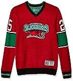Ugly Christmas Sweater Company Men's V-Neck Xmas, Cayenne St. Nick Hockey Jersey Sweater, Medium